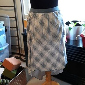 Anthropologie Marrakech plaid high low skirt